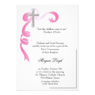Pink Ribbon Cross Communion Custom Invite
