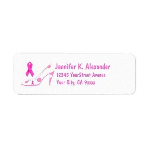 Pink Ribbon Cure High Heel Shoe Return Address Label