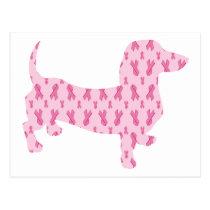 Pink Ribbon Dachshund Postcard