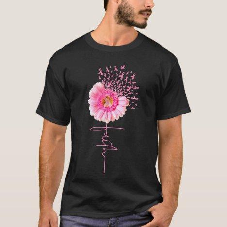Pink Ribbon Daisy Faith - Breast Cancer T Shirt