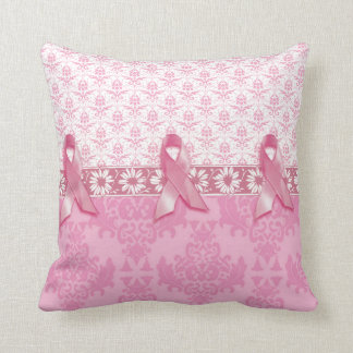 Pink Ribbon Damask Beast Cancer Pillow