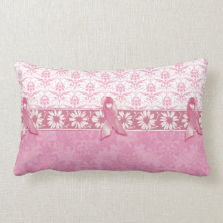 Pink Ribbon Damask Breast Cancer Lumbar Pillow