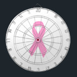 "Pink Ribbon Dartboard<br><div class=""desc"">Simple ribbon shape in pink for breast cancer awareness.</div>"