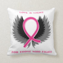 Pink Ribbon Decorative Throw Pillow Breast Cancer