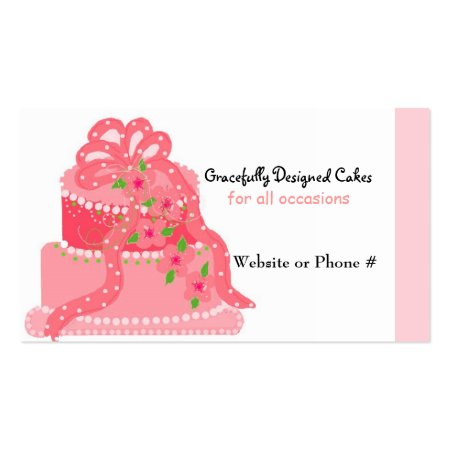 Pink 3-Tier Designer Cake with Ribbon and Fancy Flowers Business Cards for Bakeries