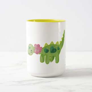 Pink Ribbon Dino Two-Tone Coffee Mug
