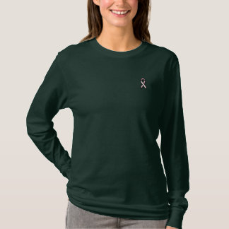 Pink Ribbon Embroidered Long Sleeve T-Shirt