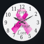"""Pink Ribbon Faith Clock<br><div class=""""desc"""">The purpose of the pink ribbon is to remind women of the potential dangers of breast cancers and make them take preliminary precautions. It reminds them of the need of a self checkup, and take the requisite measures before it is too late. By wearing this ribbon, you are sending out...</div>"""