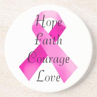 Pink  Ribbon Faith Coaster
