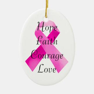 Pink Ribbon Faith Oval Ornament