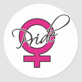Pink Ribbon Female Pride Classic Round Sticker