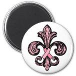 Pink Ribbon Fleur de lis 2 Inch Round Magnet