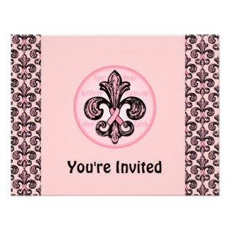 Pink Ribbon Fleur de lis Announcements