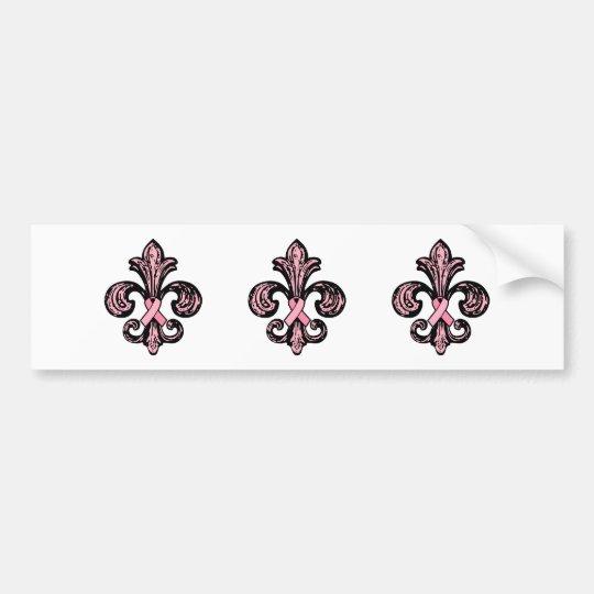 Pink Ribbon Fleur de lis Bumper Sticker