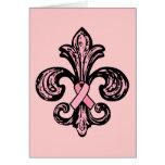 Pink Ribbon Fleur de lis Greeting Card