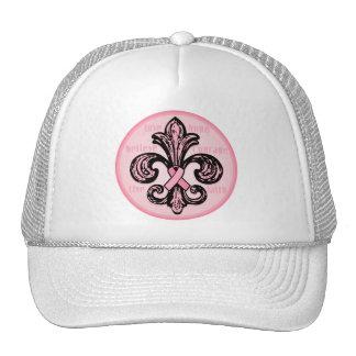 Pink Ribbon Fleur de lis Trucker Hat