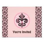 Pink Ribbon Fleur de lis 4.25x5.5 Paper Invitation Card