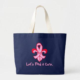 Pink Ribbon Fleur de Lis Large Tote Bag