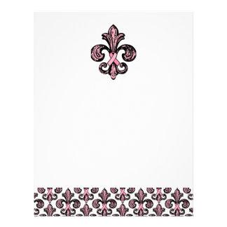 Pink Ribbon Fleur de lis Letterhead Template
