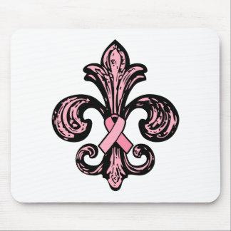 Pink Ribbon Fleur de lis Mouse Pad