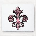 Pink Ribbon Fleur de lis Mouse Pads
