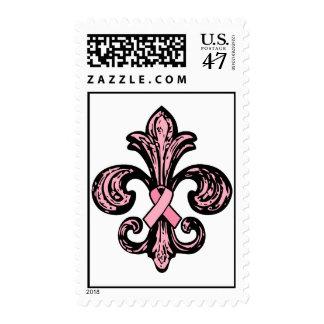 Pink Ribbon Fleur de lis Postage