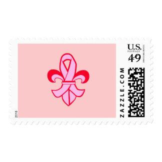 Pink Ribbon Fleur de Lis Stamp