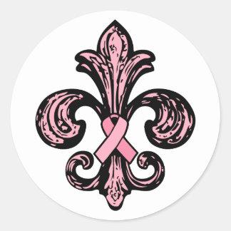 Pink Ribbon Fleur de lis Sticker