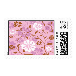 Pink Ribbon Floral Breast Cancer Stamp