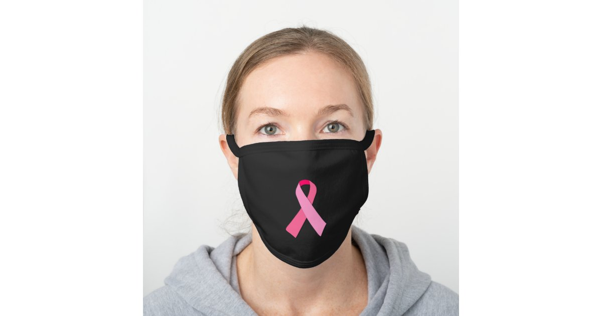 Pink Ribbon For Breast Cancer Awareness Black Cotton Face Mask Zazzle Com