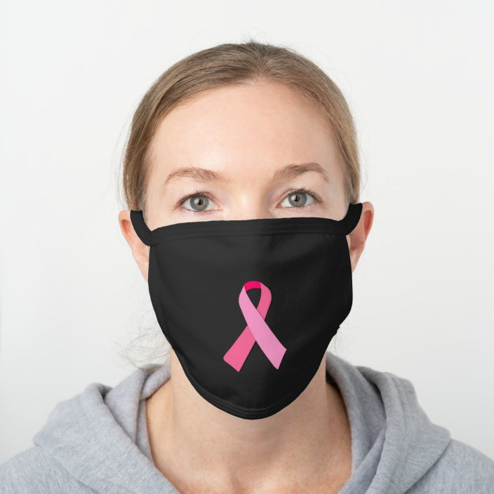 Pink Ribbon For Breast Cancer Awareness Black Cotton Face Mask