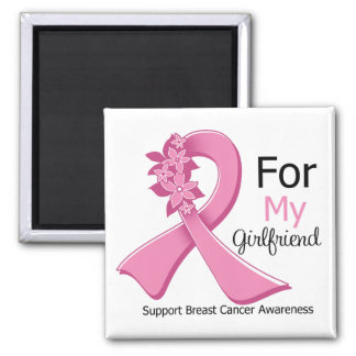 Pink Ribbon For My Girlfriend - Breast Cancer Refrigerator Magnets