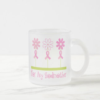 Pink Ribbon For My Godmother Frosted Glass Coffee Mug