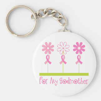Pink Ribbon For My Godmother Keychain