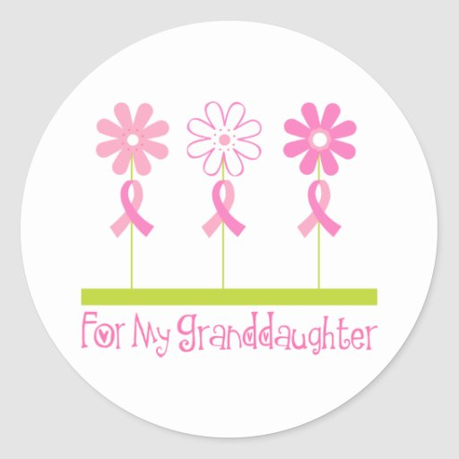 Pink Ribbon For My Granddaughter Round Stickers