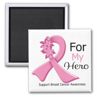 Pink Ribbon For My Hero - Breast Cancer Fridge Magnets