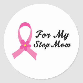 Pink Ribbon For My Step Mom Sticker