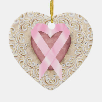 Pink Ribbon From the Heart - SRF Ceramic Ornament