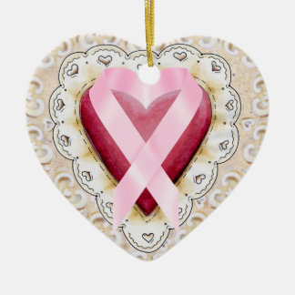 Pink Ribbon From the Heart - SRF Double-Sided Heart Ceramic Christmas Ornament