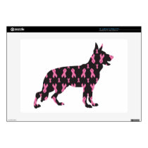 "Pink Ribbon German Shepherd 15"" Laptop Skins"