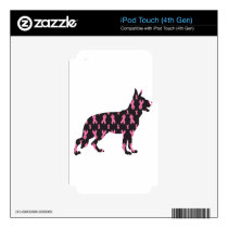 Pink Ribbon German Shepherd Decal For iPod Touch 4G