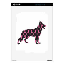 Pink Ribbon German Shepherd iPad 2 Skin