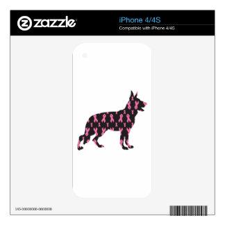 Pink Ribbon German Shepherd iPhone 4 Decals