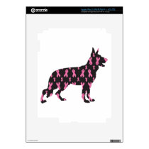 Pink Ribbon German Shepherd Skin For iPad 3