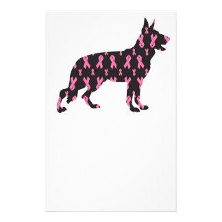 Pink Ribbon German Shepherd Stationery