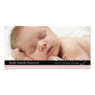 Pink Ribbon Girl Baby Birth Announcement Photocard