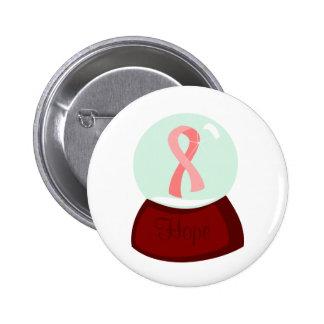 Pink Ribbon Globe Pinback Button