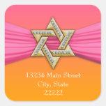 Pink Ribbon Gold Star of David Square Sticker
