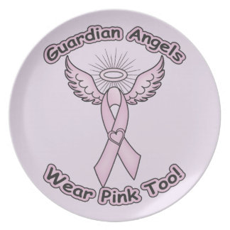 Pink Ribbon Guardian Angel Party Plate