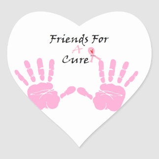 Pink Ribbon Hand Print Heart Sticker
